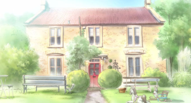 Fosse Farmhouse as it Appears in the Anime