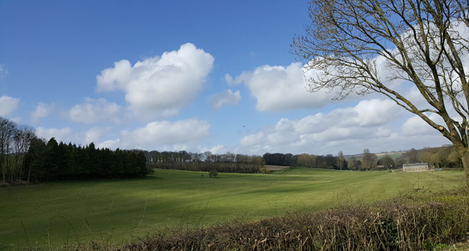 Blue skies over Broad Chalke