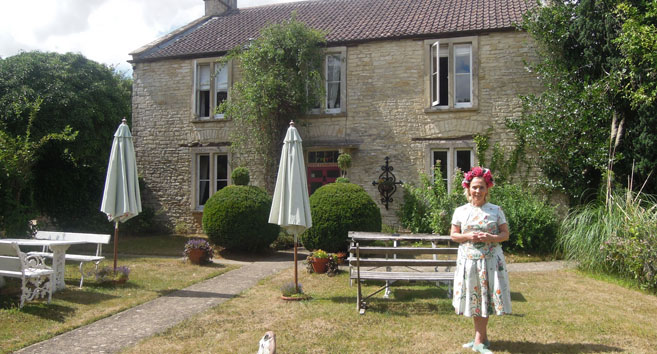 Caron Cooper Outside Fosse Farmhouse Castle Combe