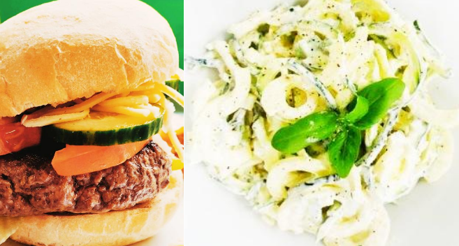 burger and courgette