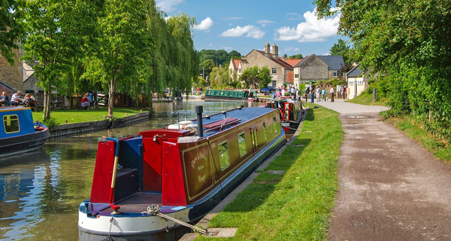 Narrowboat on a canal in Wiltshire