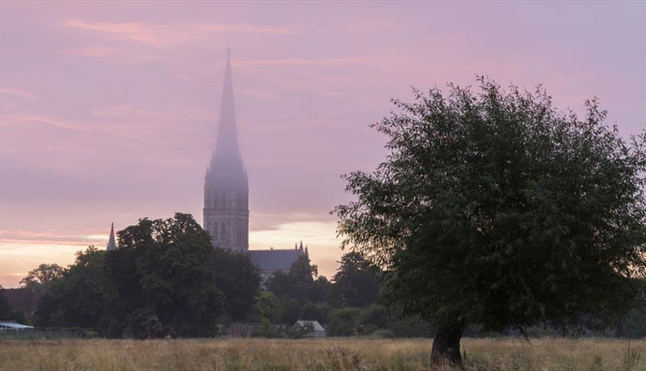 Salisbury Cathedral in mist