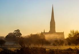 Salisbury Cathedral surrounded by mists