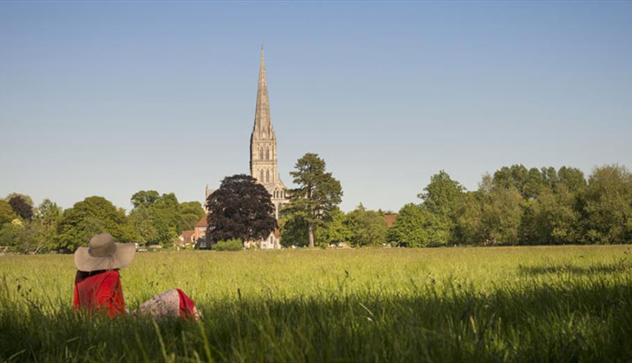 Salisbury Cathedral across the water-meadows