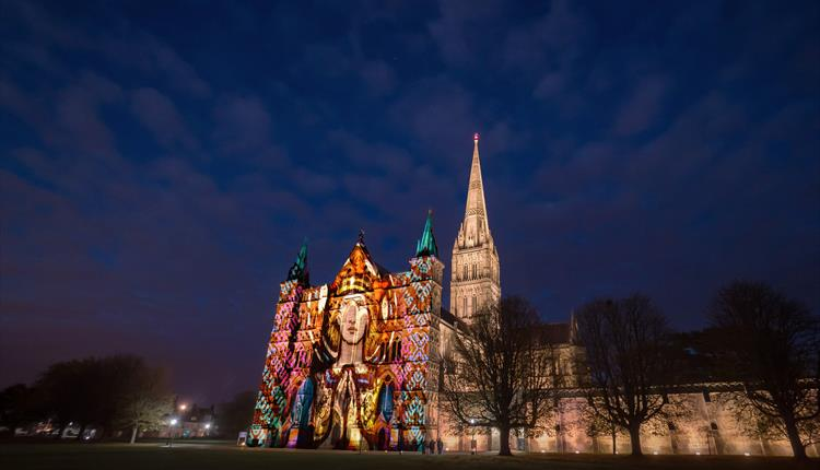 Salisbury Cathedral lit up for Sarum Lights